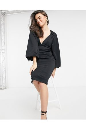 ASOS Damen Midikleider - Balloon sleeve pencil midi dress in black