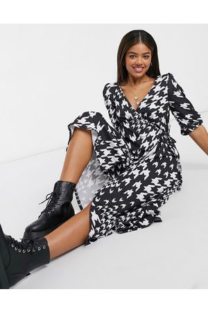 ASOS Textured midi smock dress in and white dogtooth