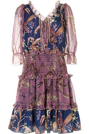 Marchesa Notte Damen Freizeitkleider - Floral print smocked waist dress