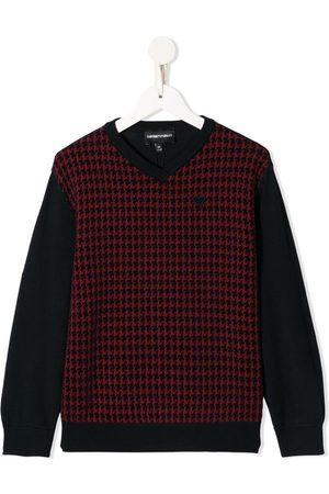 Emporio Armani Kids Houndstooth-print v-neck jumper