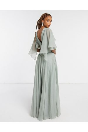 ASOS Bridesmaid ruched bodice drape maxi dress with wrap waist and flutter cape sleeve