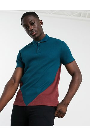 ASOS Polo shirt with colour block in waffle