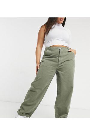 ASOS ASOS DESIGN Curve slouchy chino trouser in khaki