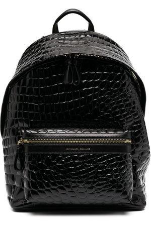 Giuliano Galiano Crocodile effect patent leather backpack