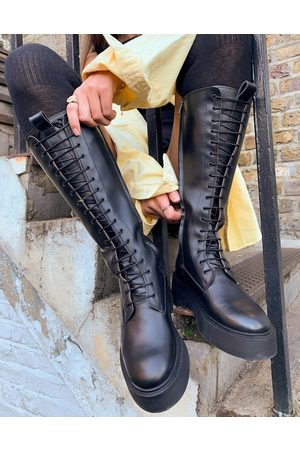 & OTHER STORIES Leather tall lace up chunky flat boots in