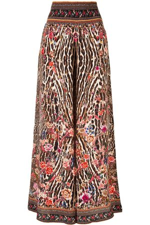 Camilla Shirred waist wide-leg trousers