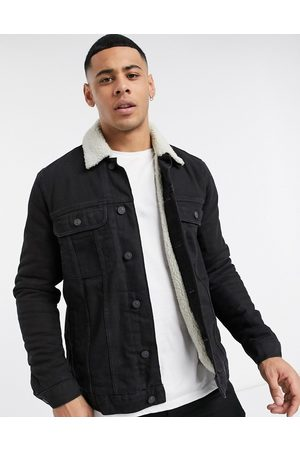 ASOS Denim jacket with ecru borg lining in