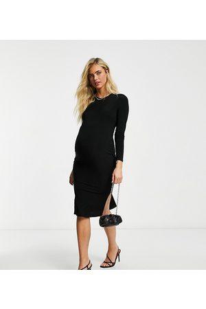 Flounce London Flounce Maternity basic jersey midi dress with long sleeve in