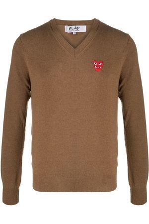 Comme des Garçons Herren Strickpullover - Logo heart embroidered jumper
