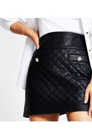 River Island Quilted faux leather mini skirt in