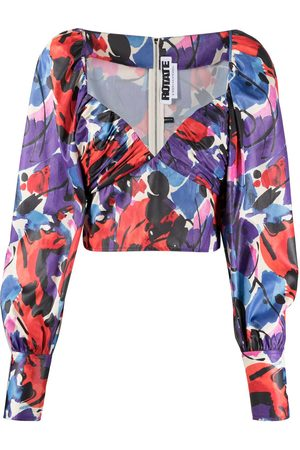 ROTATE Abstract print sweetheart neck blouse