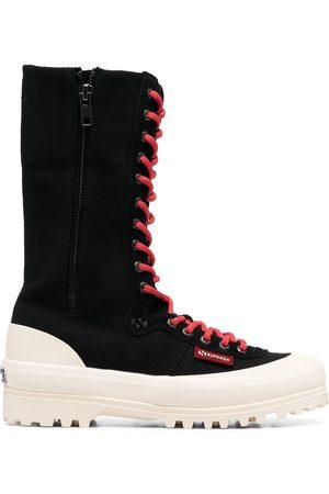 Superga Damen Schnürstiefel - Lace-up ridged boots