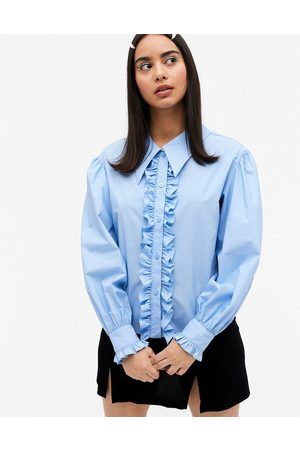 Monki Camina cotton frill front tuxedo shirt in