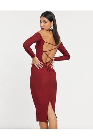 ASOS Long sleeve strappy rib bodycon midi dress in wine
