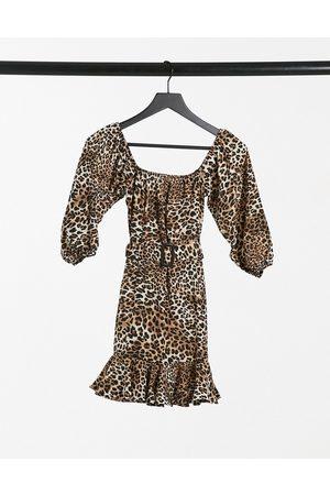 I saw it first Print bardot belted frill mini dress in leopard