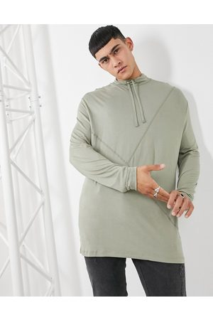 ASOS Long sleeve relaxed fit high neck top in washed khaki