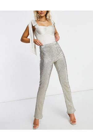 ASOS Jersey sparkle kick flare suit trouser in