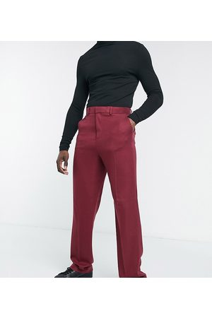ASOS Tall wide leg suit trousers in burgundy twill