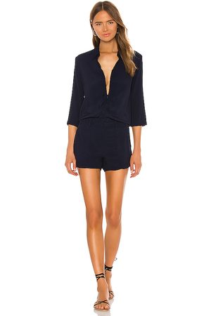MONROW Zip Up Romper in - Blue. Size L (also in M, S, XS).