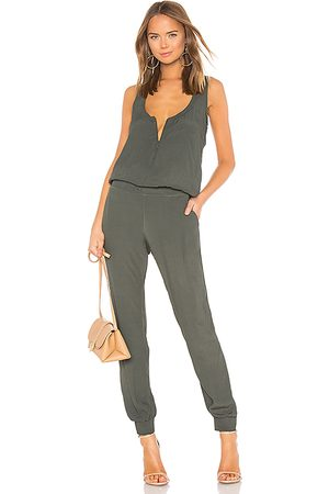 MONROW Crepe Jumpsuit in - Green. Size L (also in M, S, XS).