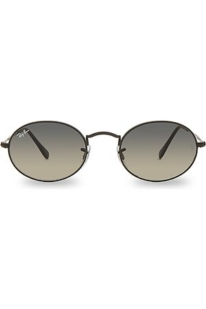 Ray-Ban Oval Flat in Black Nero & Gray Green - Black. Size all.