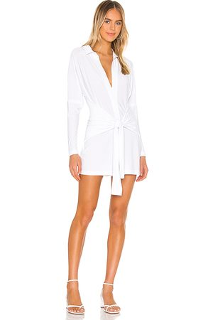 Norma Kamali Tie Front NK Shirt Romper in - . Size L (also in M, S, XS, XXS).