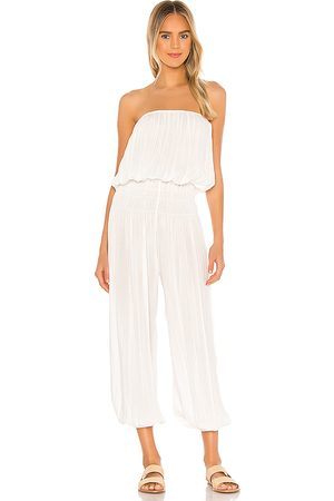 Indah Seychelle Strapless Pleated Jumpsuit in - White. Size M/L (also in S/M, XS/S).