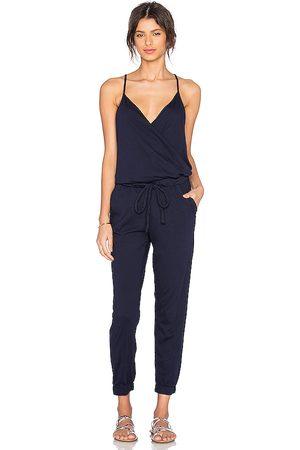 Bobi Damen Jumpsuits - Supreme Jersey Tied Waist V Neck Jumpsuit in - Navy. Size L (also in XS, S, M).