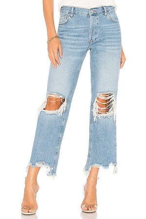 Free People Maggie Straight Jean in - Blue. Size 24 (also in 25, 26, 27, 28, 29, 30, 31).