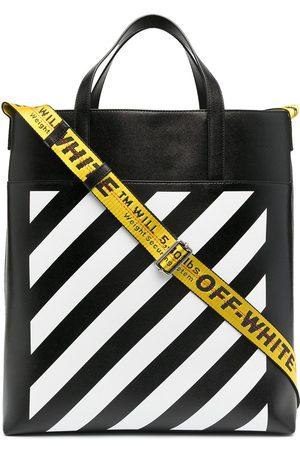 Off-White Herren Shopper - Logo-print striped tote bag