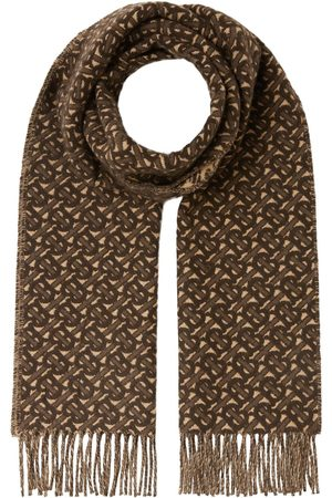 Burberry Monogram-pattern fringed scarf