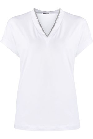 Brunello Cucinelli Silvery trim V-neck T-shirt