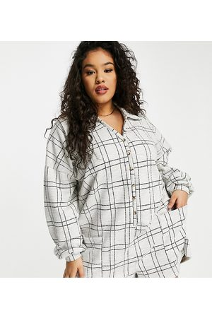 ASOS ASOS DESIGN curve chuck on button front playsuit in check
