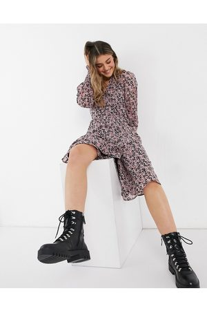Influence Wrap midi dress in ditsy floral dress