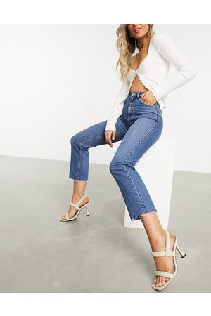 ASOS High rise stretch 'effortless' crop kick flare jeans in midwash
