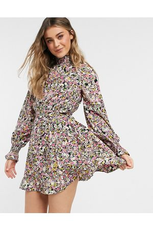 Influence High neck mini dress with tie waist in floral print