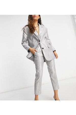 ASOS ASOS DESIGN Petite moire suit trouser in metallic