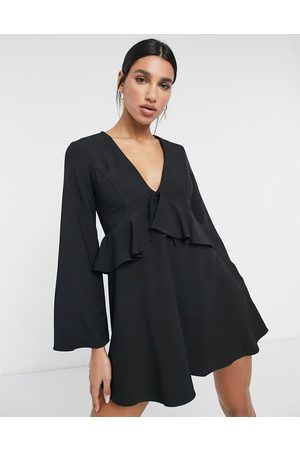 ASOS Tie front mini dress with ruffle detail