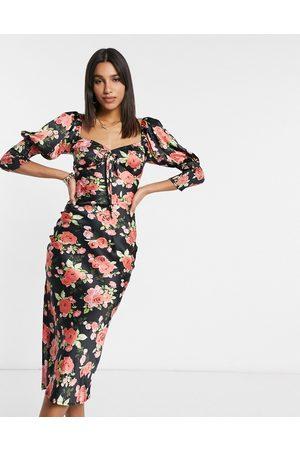 ASOS Satin bias midi tea dress with shirred cuffs in rose floral print