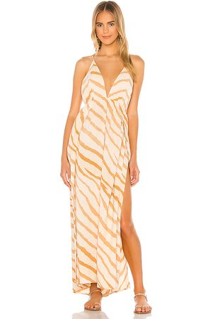 Indah River Triangle Plunge Wrap Skirt Maxi Dress in - Tan. Size M/L (also in S/M).