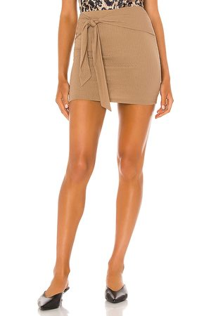 Lovers + Friends Justina Tie Mini Skirt in - Brown. Size L (also in XXS, XS, S, M, XL).