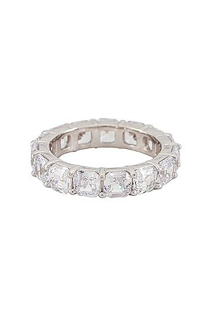 The M Jewelers Cushion Cut Eternity Band Ring in - Metallic . Size 5 (also in 6, 7, 8).