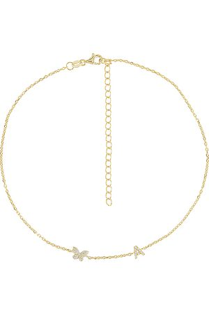 Adina's Jewels Pave Butterfly Initial Choker in - Metallic . Size D (also in F, H, I, P).