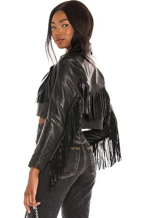 Understated Leather Malboro Cropped Blazer in - . Size L (also in XS, S, M).