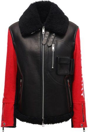 Burberry Damen Lederjacken - Bicolor Leather Biker Jacket