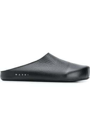 Marni Textured leather slippers