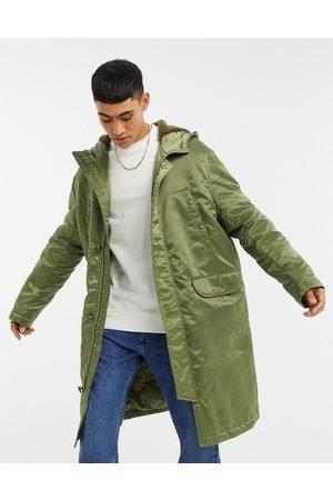 ASOS Longline parka jacket in high shine nylon