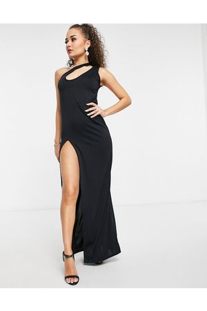 Femme Luxe One shoulder slash neck maxi dress with high thigh split in