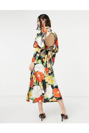 ASOS Satin puff sleeve bias midi dress in bold floral print