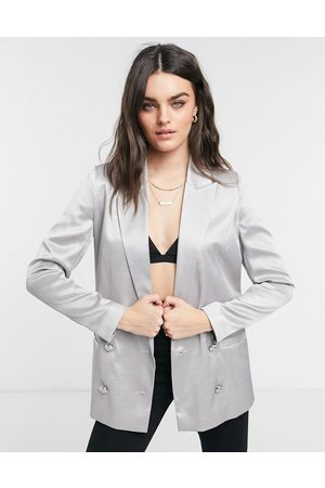 River Island Satin double breasted blazer in